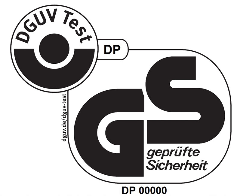 GS-Prüfsymbol in schwarz-weiß