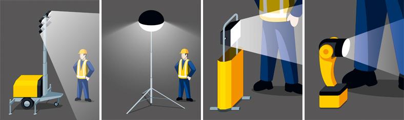 Vier Grafiken nebeneinander zeigen eine Person mit unterschiedlichen mobilen Beleuchtungssystemen.