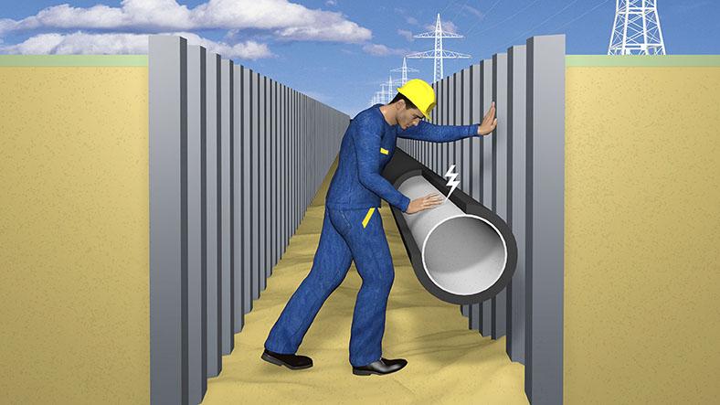 Gasleitungen: Erklärgrafik Baugrube mit Arbeiter an einem Rohr.