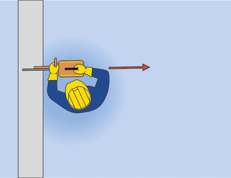 Diese Illustration zeigt einen Arbeiter von oben. Er bedient eine Trennschleifscheibe. Er darf sich nicht über die Trennschleifscheibe beugen.