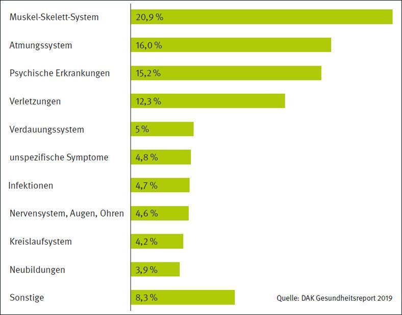 Diese Grafik zeigt in Prozentzahlen die Anteile der zehn wichtigsten Krankheitsarten an den AU-Tagen.