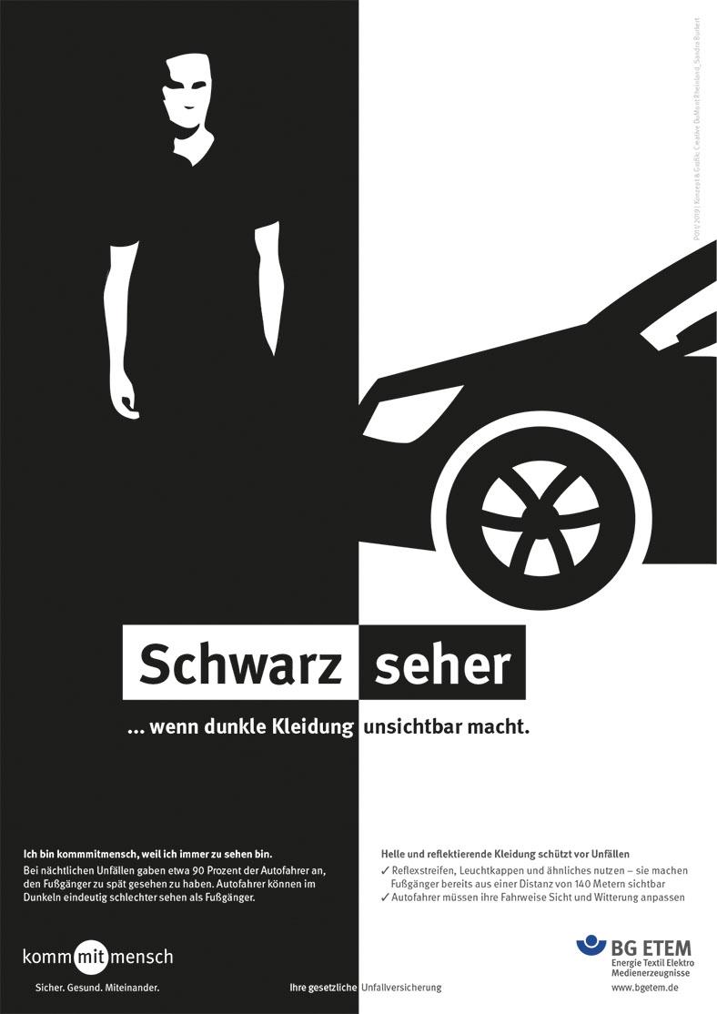 """Die Abbildung zeigt ein Plakatmotiv der aktuellen Kampagne der BG ETEM. Auf der linken Seite ist ein Mann mit schwarzem TShirt.Auf der rechten ist ein schwarzer PKW auf weißem Hintergrund abgebildet. Das Thema : """"Schwarzseher""""."""