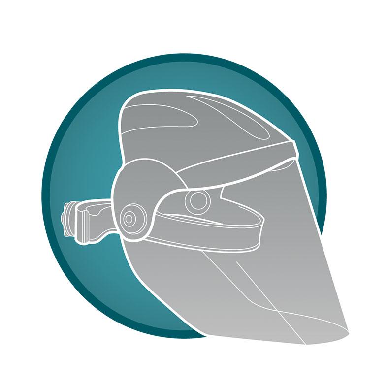 Kreis mit blaugrünem Hintergrund zeigt in grau eine transparente Schweißschutzmaske.