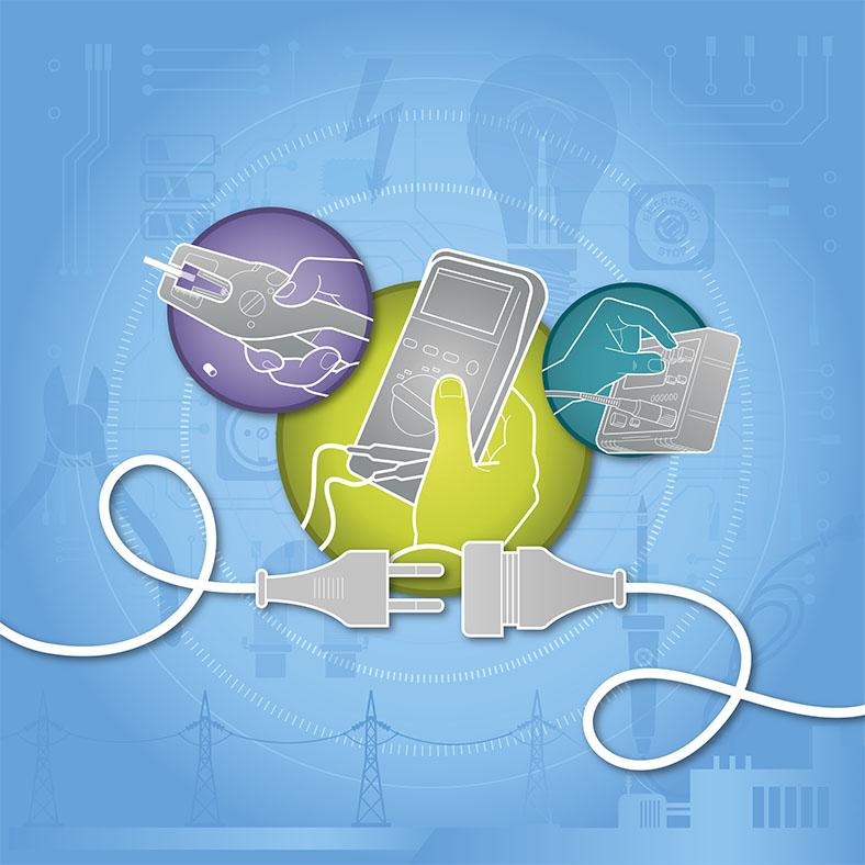 Grafik Elektro zeigt in farbigen Kreisen Elektrogeräte, die von Händen gehalten oder bedient werden, im Vordergrund zwei unverbundene Stromkabel, der Hintergrund ist blau mit Motiven aus dem Elektrobereich.