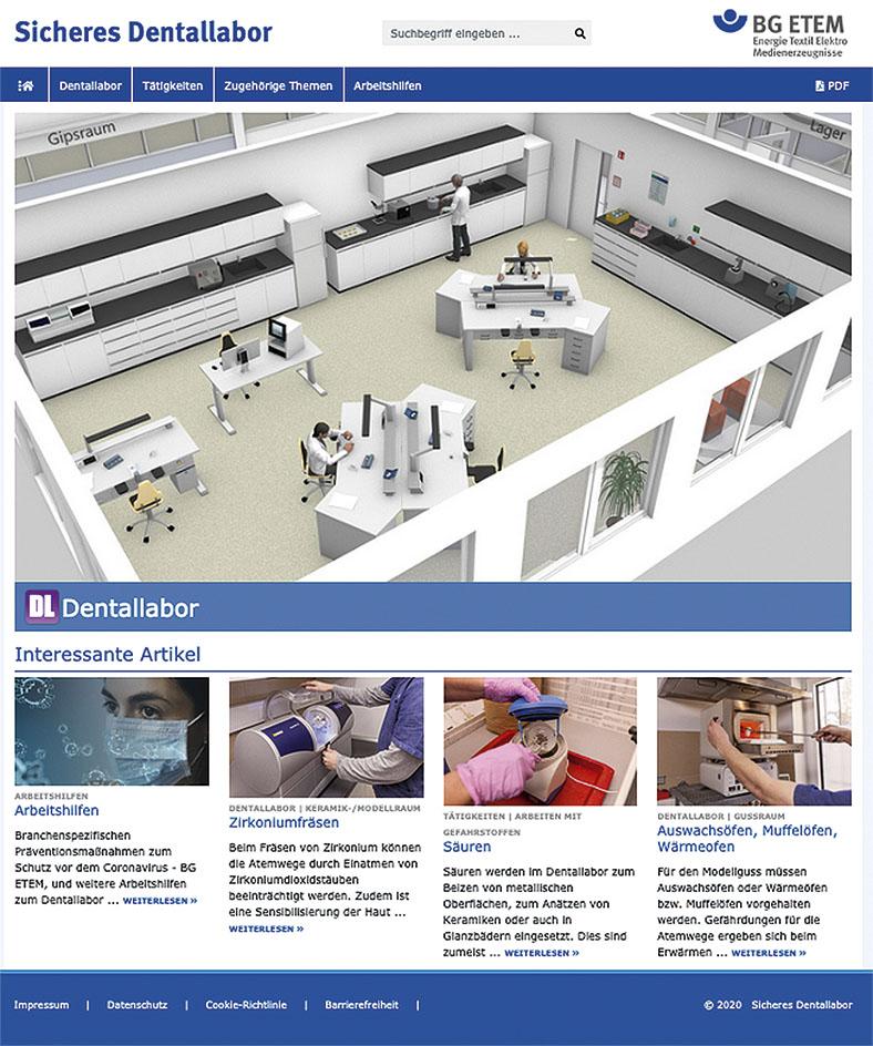 """Ansicht Startseite des neuen BG-ETEM-Internetportals """"Sicheres Dentallabor"""". Man sieht mehrere Bilder mit Ansichten und Arbeitsszenen in einem Dentallabor."""