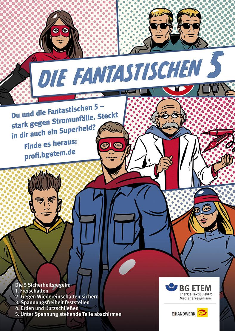 Comicstrip-Zeichnung der Fantastischen 5, den Sicherheitshelden der BG ETEM vor rotem Hintergrund: Auf einer Seite mit mehreren Einzelbildern sieht man verschiedene Personen in Superhelden-Kostümen, teilweise mit Augenmasken.