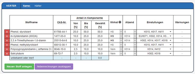Epoxidharze: Abb. 3b Eingabemaske Härter