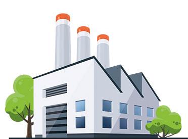 Illustration Fabrikgebäude mit Schornsteinen