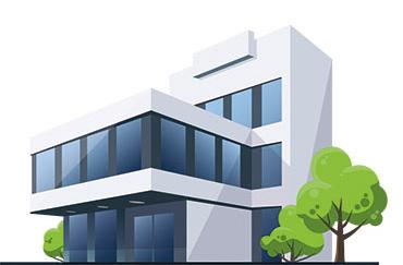 Illustration eines Unternehmensgebäudes.