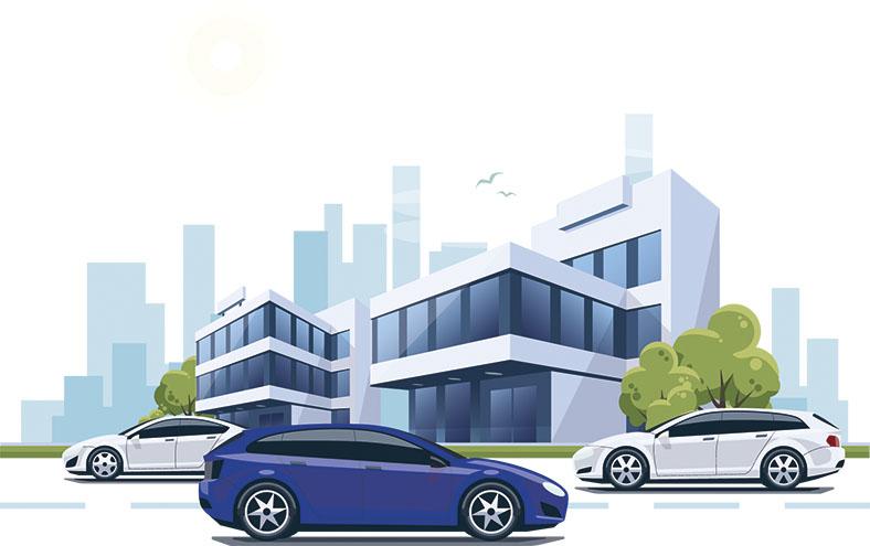 Illustration: Geschäftsgebäude mit drei PKWs in weiß und blau im Vordergrund.