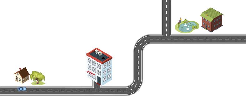 Die Grafik zeigt schematisch von links nach rechts den Arbeitsweg von einem Privathaus mit einem Baum bis zu einem mehrstöckigen Geschäftsgebäude und weiter zu einem anderen Privathaus mit einem Teich und Schwänen vor der Tür. Die Gebäude sind durch eine sich verzweigende graue Straße verbunden. Auf der Straße vor dem linken Privathaus steht ein blaues Auto, Ansicht von oben.